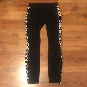Bebe Leggings Black with Logo Stripe XXS